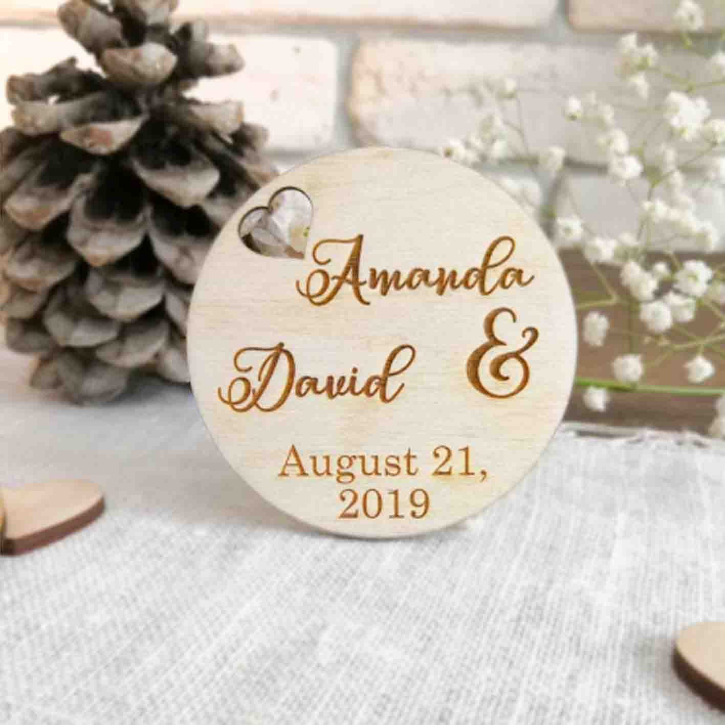 50 PCS Round Cut Magnet Wedding Favors with Heart Hole and Custom Design