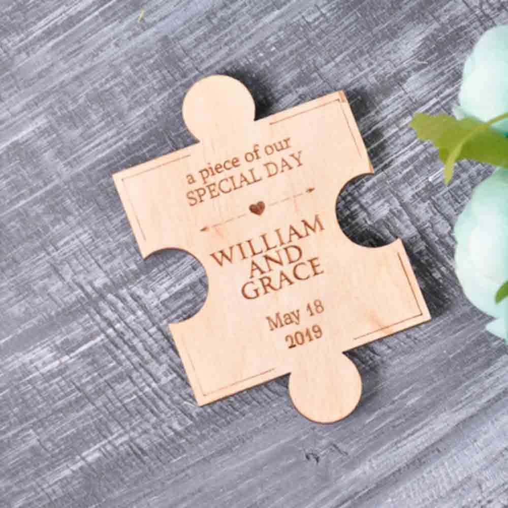50 PCS Magnet Wedding Favors Custom Design Jigsaw Puzzle Piece Wooden Engraved Detais