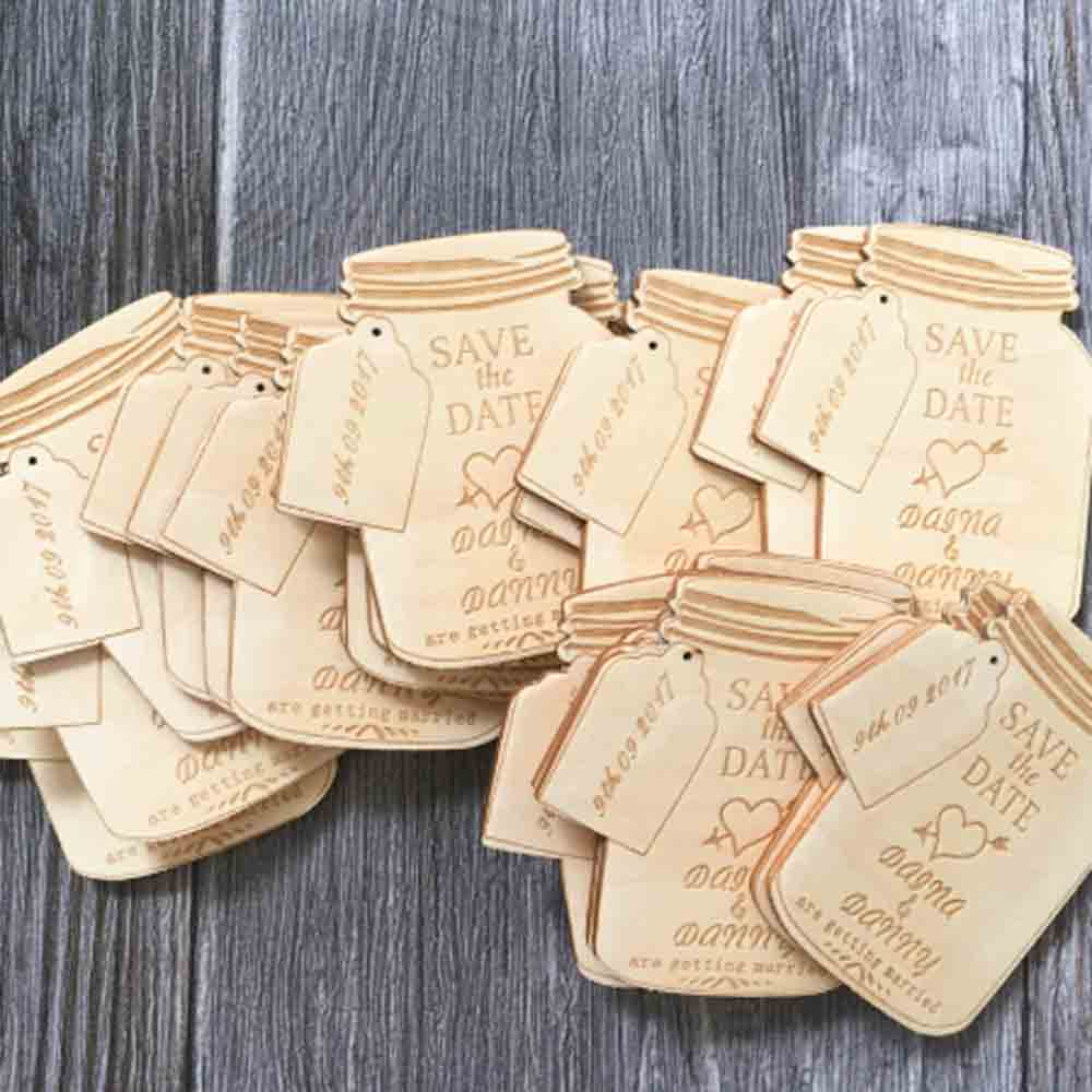 50 PCS Mason Jar Cut Wood Magnet Wedding Favors Custom Design Engraved Names