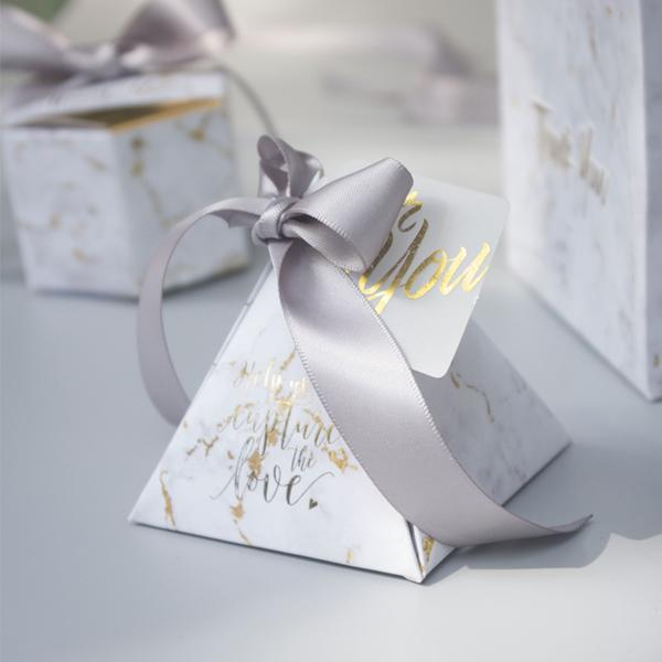 50 PCS Gold Marble Pyramid Wedding Candy Box with Gray Ribbon