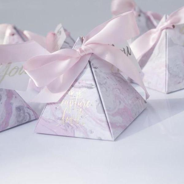 (Min Order 50) Pink Marble Triangular Pyramid Candy Box With Pretty Pink Ribbon