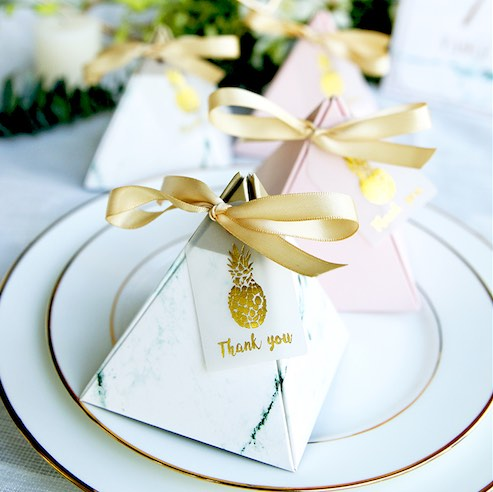 (Min Order 5)  Marble Green & Pink, Pineapple Themed Triangular Pyramid Wedding Candy Boxes with Rib
