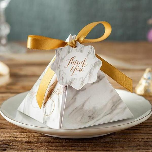 "(Min Order 50) Gray Marble Scripted ""Thank You"" Triangular Pyramid Wedding Candy Boxes"