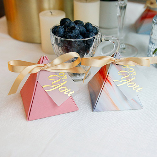 (Min Order 50) Unique Silver & Orange Triangular Pyramid Wedding Candy Box