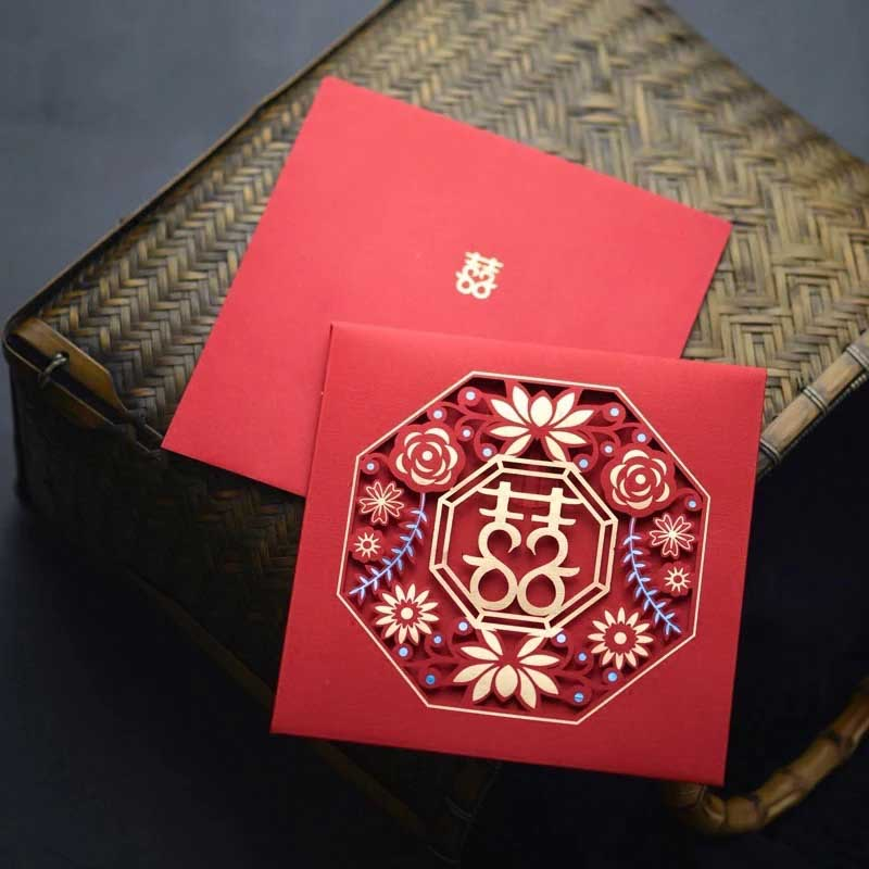 40 PCS Unique Chinese Wedding Invitation Set Laser Cut Rosette Design Square40 PCS Unique Chinese Wedding Invitation Set Laser Cut Rosette Design Square