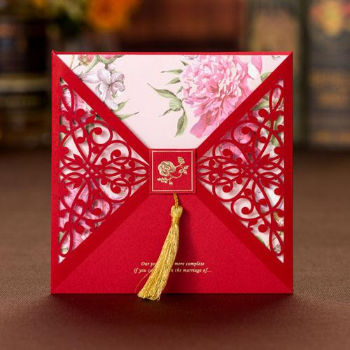 40 PCS Chinese Wedding Invitation With Red Laser Cut Outer Card & Pink Floral Design