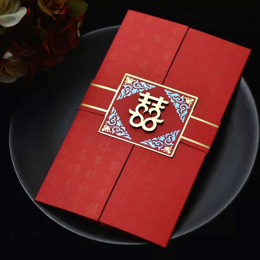 40 PCS Unique Chinese Wedding Invitation Set Double Openings
