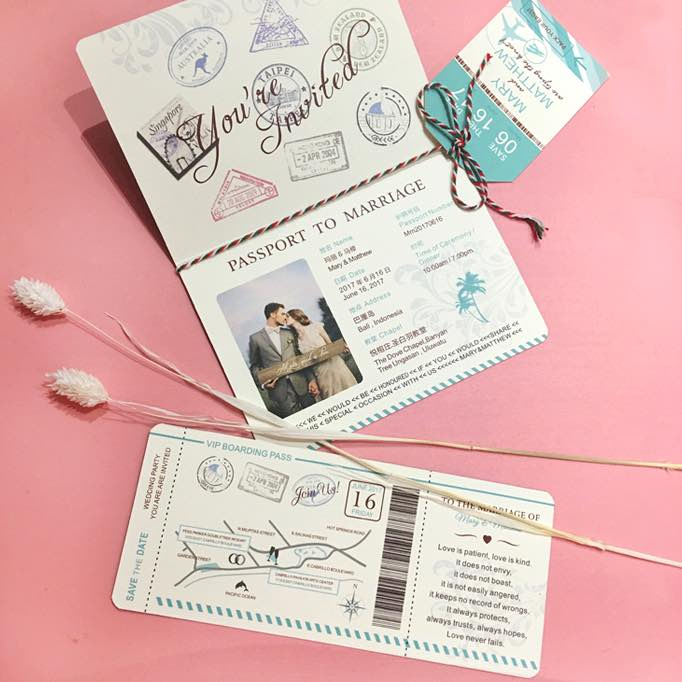 (20) Personal Passport Wedding Invitation Pack