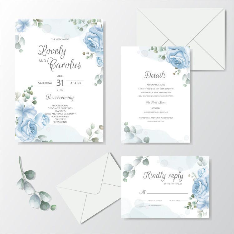 Simple Blue Floral Border Complete Stationery and Invitation Suite Set Including Personal Customizat