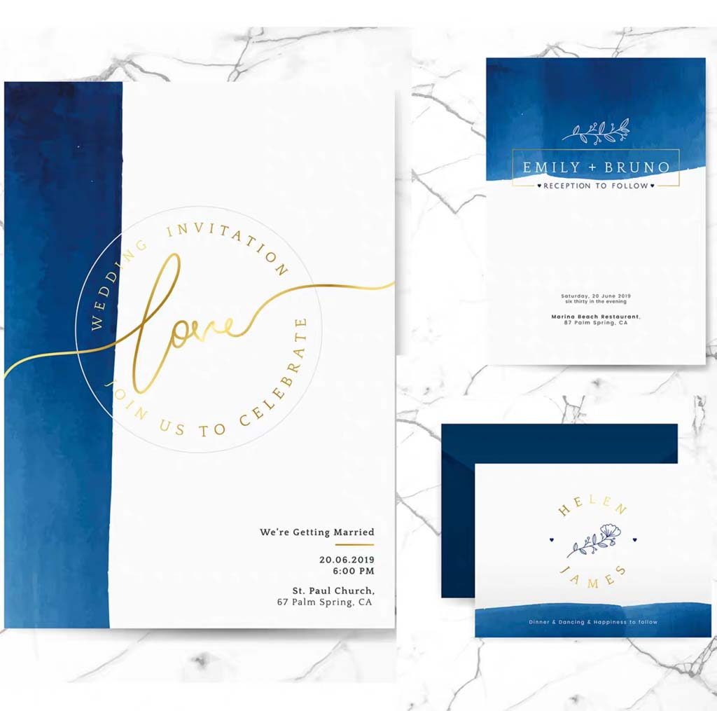 Navy Blue Watercolor Background Complete Stationery and Invitation Suite Set Including Personal Cust