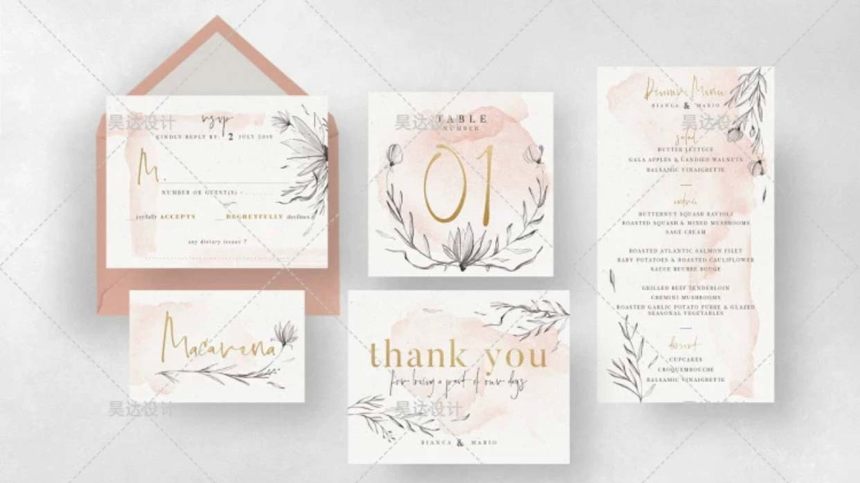 Nude Watercolor Complete Stationery and Invitation Suite Set Including Personal Customization