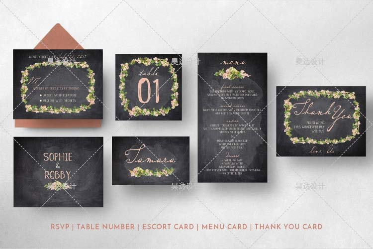 Chalkboard Inspired Complete Stationery and Invitation Suite Set Including Personal Customization