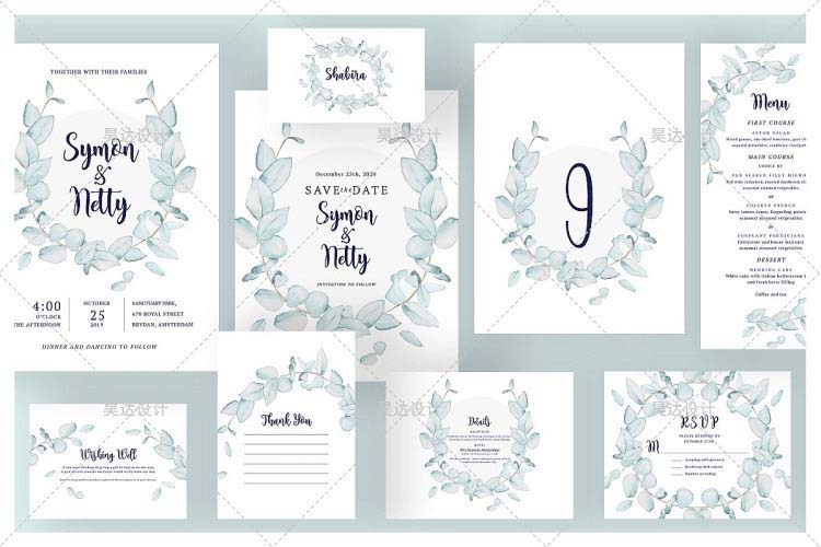 Pastel Blue Leaf Wreath Complete Stationery and Invitation Suite Set Including Personal Customizatio