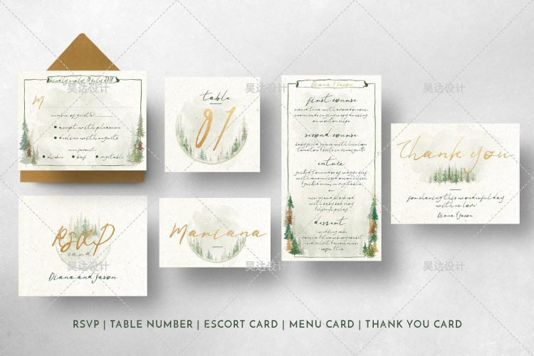 Forest Watercolor Pine Tree Design Complete Stationery and Invitation Suite Set Including Personal C