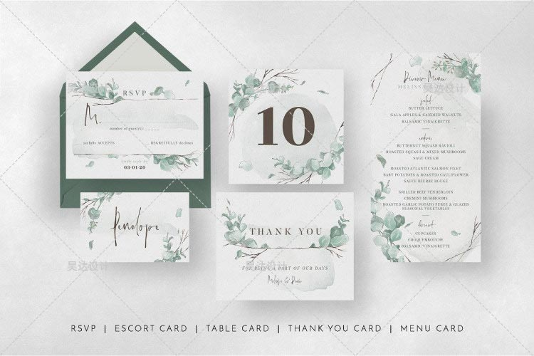 Spring Leaf Complete Stationery and Invitation Suite Set Including Personal Customization