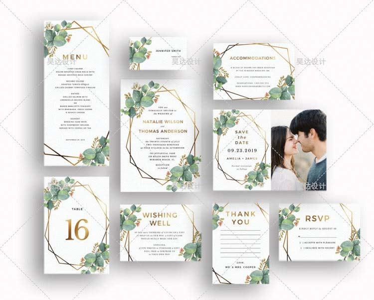 Bright and Green Complete Stationery and Invitation Suite Set Including Personal Customization