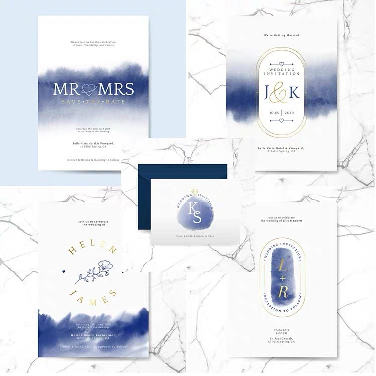 Indigo Watercolor Complete Stationery and Invitation Suite Set Including Personal Customization