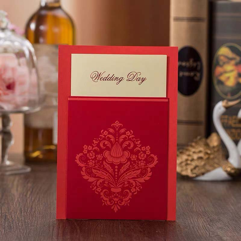 40 PCS Slip On Pocket Card Style Traditional Chinese Wedding Invitations