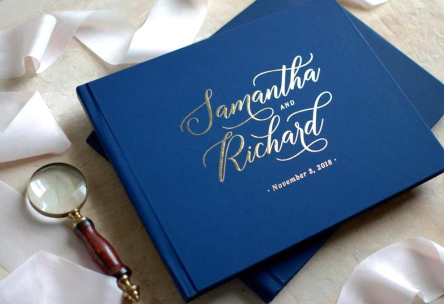 Mr. & Mrs. Heart  - 场地布置 - Blue Hard Cover Wedding Guest Book with Foil Lettering & Custom Color Design - 世界各地适用