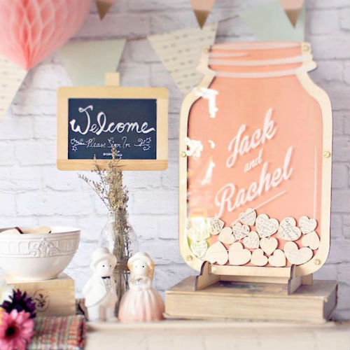 Mr. & Mrs. Heart  - 场地布置 - 'Best Wishes Jar' Personalized Guest Book Alternative Idea For Wood or Rustic Themed Wedding - 世界各地适用