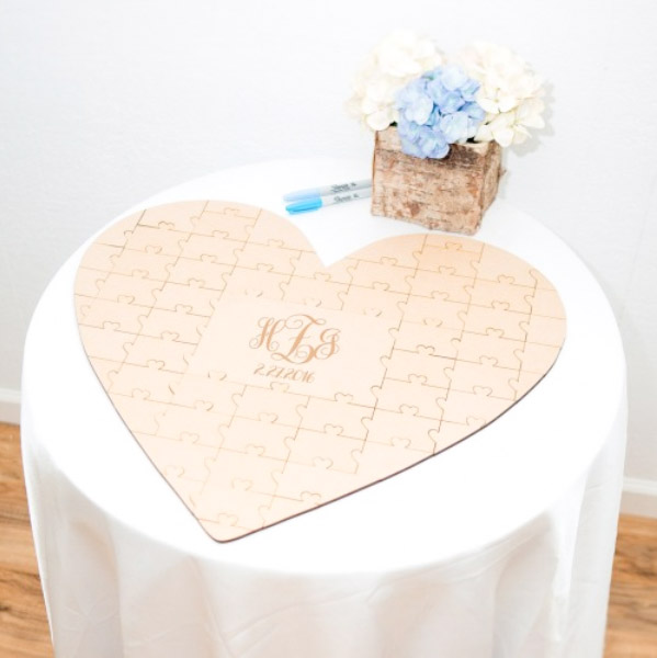 Heart Cut Wooden Wedding Guest Book with Custom Design Jigsaw Puzzle Style With Couple Initials Engr